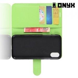 Чехол книжка для iPhone X - Зеленый