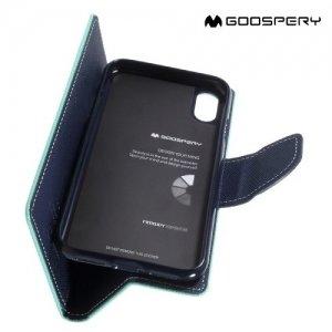 Чехол книжка для iPhone X Mercury Goospery - Бирюзовый