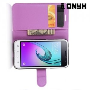 Чехол книжка для Samsung Galaxy J1 2016 SM-J120F - Фиолетовый