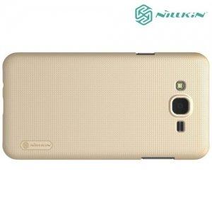 Чехол накладка Nillkin Super Frosted Shield для Samsung Galaxy J7 Neo - Золотой