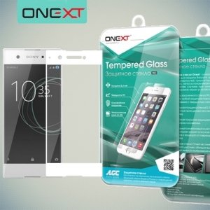 OneXT Закругленное защитное 3D стекло для Sony Xperia XA1 на весь экран - Белый