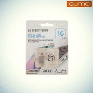 Флешка для телефона OTG microUSB+USB2.0 Qumo Keeper 16Гб