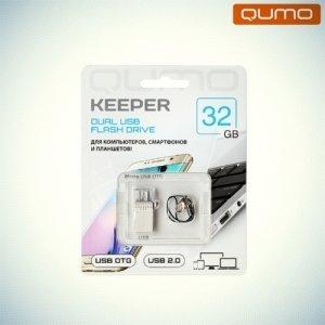 Флешка для телефона OTG microUSB+USB2.0 Qumo Keeper 32Гб