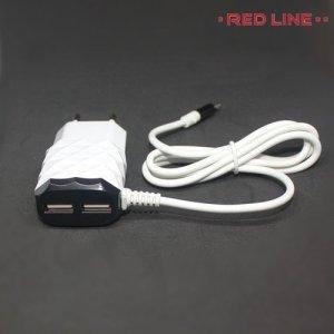 RedLine универсальная зарядка для телефона 2.1 Ампера на 2 USB с кабелем microUSB - Белый