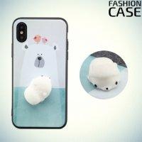3D силиконовый чехол антистресс для iPhone X - Мишка
