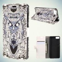 Чехол книжка для Asus Zenfone 4 Max ZC520KL - Волк и сова