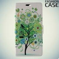 Чехол книжка для Asus Zenfone 4 ZE554KL - с рисунком Дерево счастья