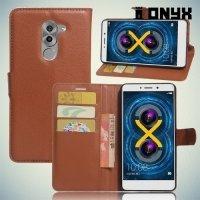 Чехол книжка для Huawei Honor 6x - Коричневый