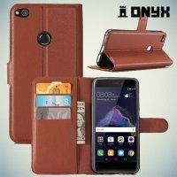 Чехол книжка для Huawei Honor 8 Lite - Коричневый