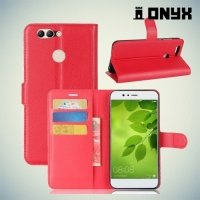Чехол книжка для Huawei nova 2 Plus - Красный