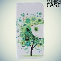 Чехол книжка для Huawei Y5 2017 / Y6 2017 - с рисунком Дерево счастья