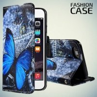 Чехол книжка для iPhone 6S / 6 - с рисунком Бабочка