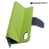 Чехол книжка для iPhone X Mercury Goospery - Зеленый