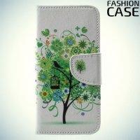 Чехол книжка для iPhone X - с рисунком Дерево счастья