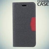 Чехол книжка для iPhone X с скрытой магнитной застежкой - Серый