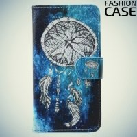 Чехол книжка для Samsung Galaxy A3 2017 SM-A320F - с рисунком Белый ловец снов