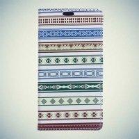 Чехол книжка для Samsung Galaxy A7 2016 SM-A710F - с рисунком Зеленые узоры