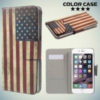 Чехол книжка для телефона 5.2-5.5 дюйма универсальный с рисунком - Американский флаг