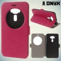 Чехол книжка с умным окном для Asus Zenfone 3 ZE520KL - Красный