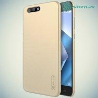 Чехол накладка Nillkin Super Frosted Shield для Asus ZenFone 4 ZE554KL - Золотой