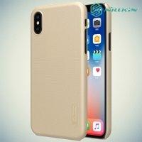 Чехол накладка Nillkin Super Frosted Shield для iPhone X - Золотой