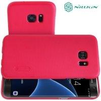 Чехол накладка Nillkin Super Frosted Shield для Samsung Galaxy S7 Edge - Красный