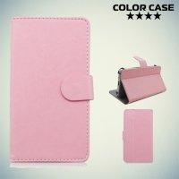Чехол книжка для телефона 5.5 дюйма универсальный - Светло розовый