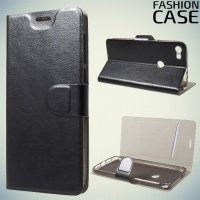 Fashion Case чехол книжка флип кейс для Alcatel Idol 5 - Черный