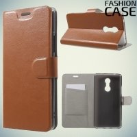 Fasion Case чехол книжка флип кейс для Lenovo K6 Note - Коричневый