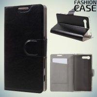 Fasion Case чехол книжка флип кейс для Sony Xperia X Compact - Черный