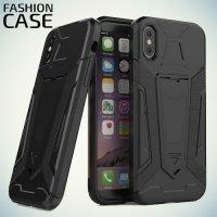 Гибридный с подставкой чехол для iPhone X - Черный