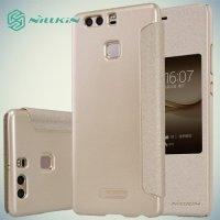 Nillkin с умным окном чехол книжка для Huawei P9 Plus - Sparkle Case Золотой
