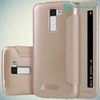 Nillkin с умным окном чехол книжка для LG K10 K410 K430DS - Sparkle Case Золотой