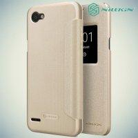 Nillkin с умным окном чехол книжка для LG Q6a M700 - Sparkle Case Золотой