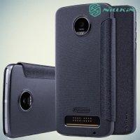 Nillkin ультра тонкий чехол книжка для Motorola Moto Z Play - Sparkle Case Темно-серый