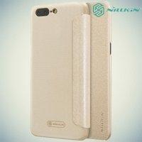 Nillkin ультра тонкий чехол книжка для OnePlus 5 - Sparkle Case Золотой