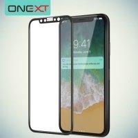 OneXT Закругленное защитное 3D стекло для iPhone X на весь экран - Черный