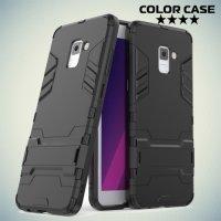 Противоударный гибридный чехол для Samsung Galaxy A7 2018 SM-A730F - Черный