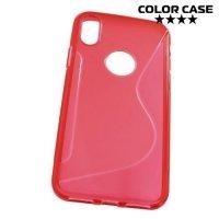 Силиконовый чехол для iPhone X - S-образный Красный