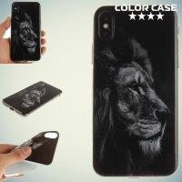 Силиконовый чехол для iPhone X - с рисунком Лев