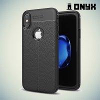 Силиконовый чехол под кожу для iPhone X - с рисунком Черный