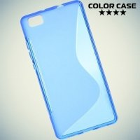 Силиконовый чехол для Huawei P8 Lite - Синий S-образный