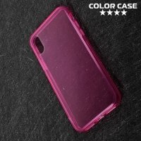 Тонкий силиконовый чехол для iPhone X - Розовый