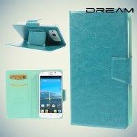Универсальный чехол книжка для телефона 5.3–5.7 дюйма - Голубой