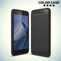 Жесткий силиконовый чехол для ASUS ZenFone 4 Max ZC554KL с карбоновыми вставками - Черный