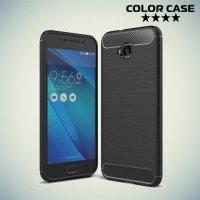 Жесткий силиконовый чехол для Asus Zenfone 4 Selfie ZD553KL / Live ZB553KL с карбоновыми вставками - Черный