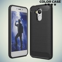 Жесткий силиконовый чехол для Huawei Honor 6A с карбоновыми вставками - Черный