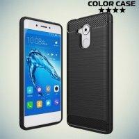 Жесткий силиконовый чехол для Huawei Honor 6C с карбоновыми вставками - Черный