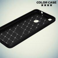 Жесткий силиконовый чехол для Huawei Honor 8 lite с карбоновыми вставками - Черный