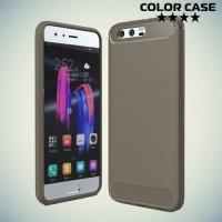 Жесткий силиконовый чехол для Huawei Honor 9 с карбоновыми вставками - Серый